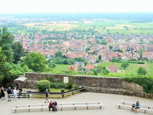 Visao da base do Chateau de Kintzheim onde há o show Volerie des Aigles e no fundo Kintzheim